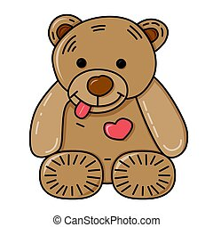 Teddy bear. Vector illustration.