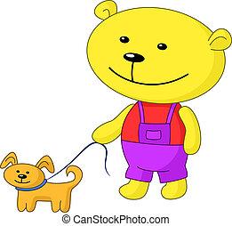 Teddy-bear walks with a dog