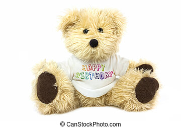 teddy bear wearing a plain white t shirt