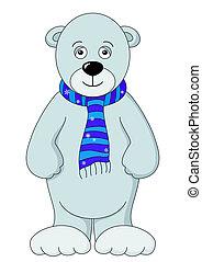 Teddy bear white in a scarf