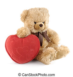 teddy bear with a big red heart isolated on white