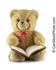 Teddy bear with a book isolated over a white background...