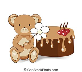 Teddy bear with a flower and cake