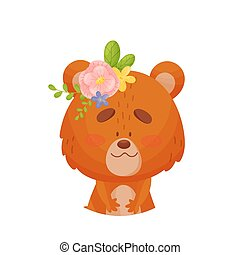 Teddy bear with a flower on his head. Vector illustration on a white background.