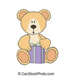 Teddy bear with a gift