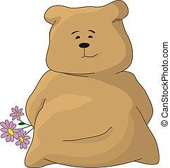 Teddy bear with a holiday flowers