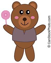 teddy bear with a lollipop
