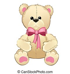 Teddy bear with a pink bow isolated on white background. Vector cartoon close-up illustration.