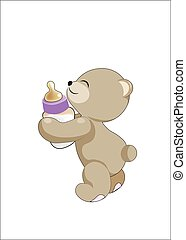 teddy bear with a small bottle with milk