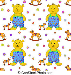 Teddy bear with a toy horsy - seamless background, teddy...