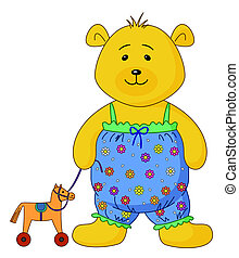 Teddy-bear with a toy horsy - The teddy-bear in the clothes...