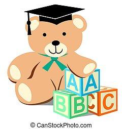 Teddy Bear with Alphabet Blocks