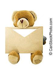 Teddy bear with an envelope