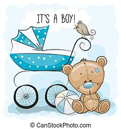Teddy bear with baby carriage - Greeting card it's a boy...