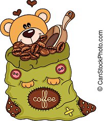 Teddy bear with bag of coffee beans and scoop