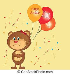 teddy bear with balloons