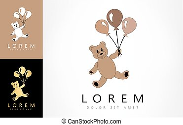 Teddy bear with balloons logo