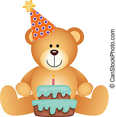 Teddy Bear with Birthday Cake - Scalable vectorial image...