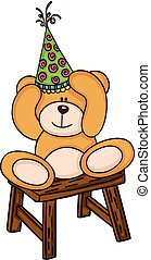 Teddy bear with birthday hat sitting on wooden stool