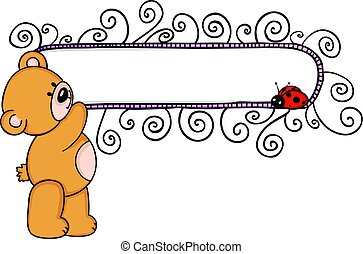 Teddy bear with blank floral banner and ladybird