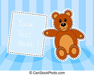 Teddy bear with blank sign in blue room