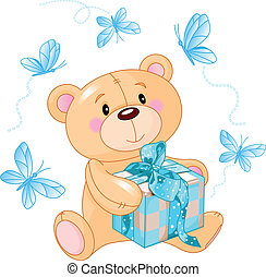 Teddy Bear with blue gift - Cute Teddy Bear sitting with...