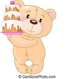 Teddy Bear with cake - Illustration of cute Teddy Bear ...