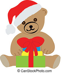 Teddy bear with Christmas gifts-EPS