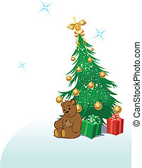 Teddy Bear with Christmas tree
