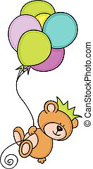 Teddy bear with crown flying with balloons