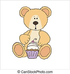 Teddy bear with cup cake