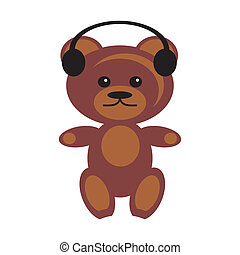 teddy bear with earphones on white background