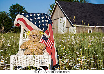 Teddy bear with flags