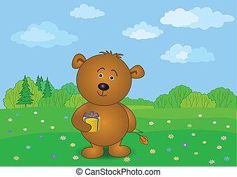 Teddy bear with flower and gift on meadow