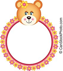 Teddy Bear with Flower Frame