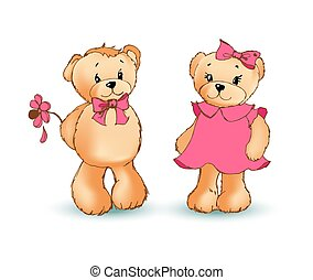 Teddy Bear with Flower Poster Vector Illustration