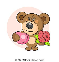 Teddy Bear With Flowers And Heart Vector Illustration