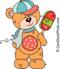 Teddy bear with funny hat eating ice cream on a stick