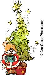 Teddy bear with gift and Christmas pine tree