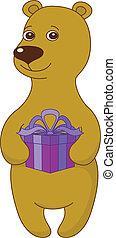 Teddy bear with gift box
