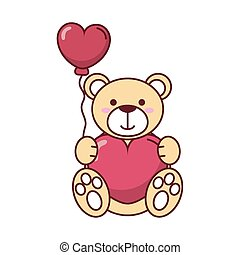 Teddy bear with heart balloon vector design