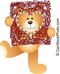Teddy Bear with Heart Frame