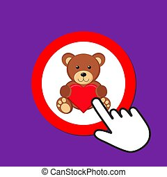 Teddy bear with heart icon. Love gift concept. Hand Mouse Cursor Clicks the Button.