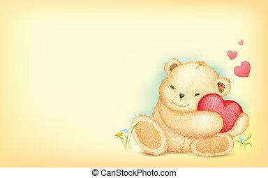 Teddy Bear with Heart - illustration of cute teddy bear ...