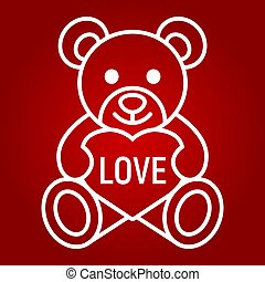 Teddy Bear With Heart Filled Outline Icon Valentines Day And
