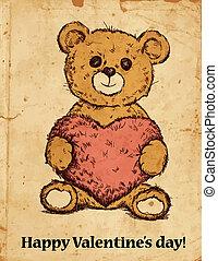 Teddy bear with heart - Hand drawn teddy bear with plush...