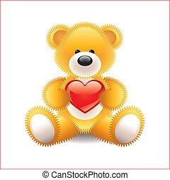 Teddy bear with heart vector illustration