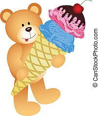 Teddy Bear with Ice Cream Cone
