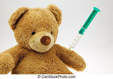 teddy bear with injection - s teddy bear getting an...