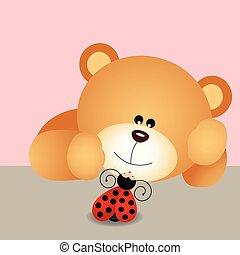 Teddy bear with ladybird